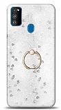 Eiroo Bright Samsung Galaxy M30S Sulu Simli Silver Silikon Kılıf