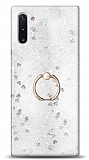 Eiroo Bright Samsung Galaxy Note 10 Sulu Simli Silver Silikon Kılıf