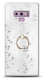 Eiroo Bright Samsung Galaxy Note 9 Sulu Simli Silver Silikon Kılıf