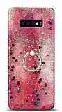Eiroo Bright Samsung Galaxy S10 Plus Sulu Simli Kırmızı Silikon Kılıf