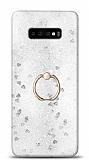 Eiroo Bright Samsung Galaxy S10 Plus Sulu Simli Silver Silikon Kılıf