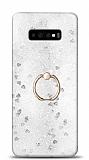 Eiroo Bright Samsung Galaxy S10 Sulu Simli Silver Silikon Kılıf