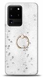 Eiroo Bright Samsung Galaxy S20 Ultra Sulu Simli Silver Silikon Kılıf