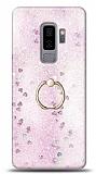 Eiroo Bright Samsung Galaxy S9 Plus Sulu Simli Pembe Silikon Kılıf