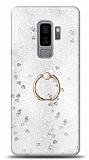 Eiroo Bright Samsung Galaxy S9 Plus Sulu Simli Silver Silikon Kılıf