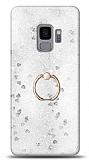 Eiroo Bright Samsung Galaxy S9 Sulu Simli Silver Silikon Kılıf