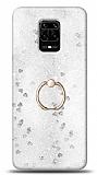 Eiroo Bright Xiaomi Redmi Note 9S Sulu Simli Silver Silikon Kılıf