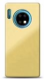 Eiroo Glass Huawei Mate 30 Silikon Kenarlı Cam Krem Kılıf