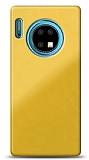 Eiroo Glass Huawei Mate 30 Silikon Kenarlı Cam Sarı Kılıf