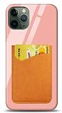 Eiroo iPhone 11 Pro Silikon Kenarlı Kartlıklı Turuncu Cam Kılıf