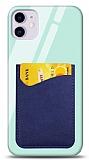 Eiroo iPhone 11 Silikon Kenarlı Kartlıklı Mavi Cam Kılıf