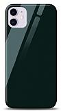 Eiroo iPhone 11 Silikon Kenarlı Yeşil Cam Kılıf