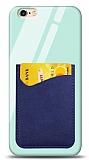 Eiroo iPhone 6 Plus / 6S Plus Silikon Kenarlı Kartlıklı Mavi Cam Kılıf