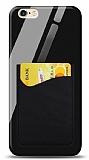 Eiroo iPhone 6 Plus / 6S Plus Silikon Kenarlı Kartlıklı Siyah Cam Kılıf
