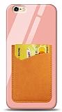 Eiroo iPhone 6 Plus / 6S Plus Silikon Kenarlı Kartlıklı Turuncu Cam Kılıf