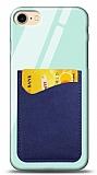 Eiroo iPhone 7 / 8 Silikon Kenarlı Kartlıklı Mavi Cam Kılıf