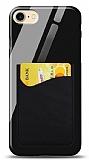 Eiroo iPhone 7 / 8 Silikon Kenarlı Kartlıklı Siyah Cam Kılıf