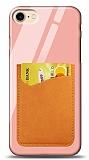 Eiroo iPhone 7 / 8 Silikon Kenarlı Kartlıklı Turuncu Cam Kılıf