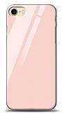 Eiroo iPhone 7 / 8 Silikon Kenarlı Pembe Cam Kılıf
