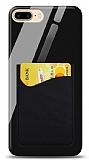Eiroo iPhone 7 Plus / 8 Plus Silikon Kenarlı Kartlıklı Siyah Cam Kılıf