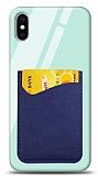 Eiroo iPhone X / XS Silikon Kenarlı Kartlıklı Mavi Cam Kılıf