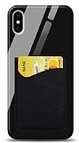 Eiroo iPhone X / XS Silikon Kenarlı Kartlıklı Siyah Cam Kılıf