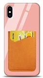 Eiroo iPhone X / XS Silikon Kenarlı Kartlıklı Turuncu Cam Kılıf