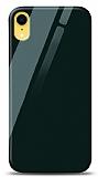 Eiroo iPhone XR Silikon Kenarlı Yeşil Cam Kılıf