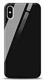 Eiroo iPhone XS Max Silikon Kenarlı Siyah Cam Kılıf