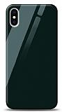 Eiroo iPhone XS Max Silikon Kenarlı Yeşil Cam Kılıf