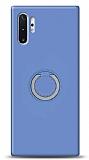 Eiroo Lansman Samsung Galaxy Note 10 Plus Selfie Yüzüklü Mor Silikon Kılıf