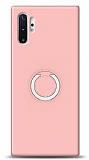 Eiroo Lansman Samsung Galaxy Note 10 Plus Selfie Yüzüklü Pembe Silikon Kılıf