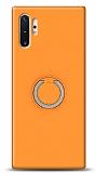 Eiroo Lansman Samsung Galaxy Note 10 Plus Selfie Yüzüklü Turuncu Silikon Kılıf