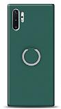 Eiroo Lansman Samsung Galaxy Note 10 Plus Selfie Yüzüklü Yeşil Silikon Kılıf