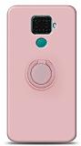 Eiroo Ring Color Huawei Mate 30 Lite Yüzük Tutuculu Açık Pembe Silikon Kılıf