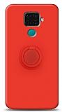 Eiroo Ring Color Huawei Mate 30 Lite Yüzük Tutuculu Kırmızı Silikon Kılıf