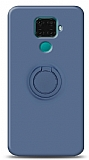 Eiroo Ring Color Huawei Mate 30 Lite Yüzük Tutuculu Lacivert Silikon Kılıf