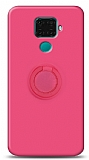 Eiroo Ring Color Huawei Mate 30 Lite Yüzük Tutuculu Pembe Silikon Kılıf