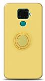 Eiroo Ring Color Huawei Mate 30 Lite Yüzük Tutuculu Sarı Silikon Kılıf