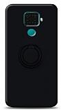 Eiroo Ring Color Huawei Mate 30 Lite Yüzük Tutuculu Siyah Silikon Kılıf