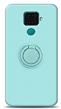 Eiroo Ring Color Huawei Mate 30 Lite Yüzük Tutuculu Turkuaz Silikon Kılıf