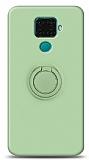 Eiroo Ring Color Huawei Mate 30 Lite Yüzük Tutuculu Yeşil Silikon Kılıf