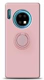 Eiroo Ring Color Huawei Mate 30 Yüzük Tutuculu Açık Pembe Silikon Kılıf