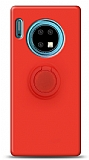 Eiroo Ring Color Huawei Mate 30 Yüzük Tutuculu Kırmızı Silikon Kılıf