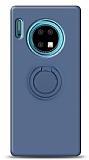 Eiroo Ring Color Huawei Mate 30 Yüzük Tutuculu Lacivert Silikon Kılıf