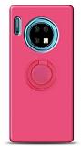 Eiroo Ring Color Huawei Mate 30 Yüzük Tutuculu Pembe Silikon Kılıf
