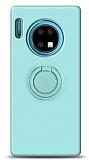 Eiroo Ring Color Huawei Mate 30 Yüzük Tutuculu Turkuaz Silikon Kılıf
