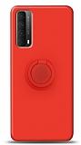 Eiroo Ring Color Huawei P smart 2021 Yüzük Tutuculu Kırmızı Silikon Kılıf