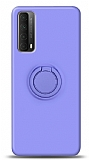 Eiroo Ring Color Huawei P smart 2021 Yüzük Tutuculu Mor Silikon Kılıf