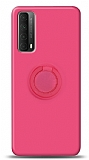 Eiroo Ring Color Huawei P smart 2021 Yüzük Tutuculu Pembe Silikon Kılıf